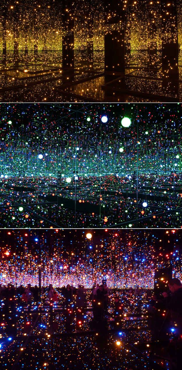 Yayoi Kusama's Mirror and LED Light Installations