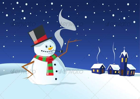 VECTOR DOWNLOAD (.ai, .psd) :: https://realistic.photos/article-itmid-1000069887i.html ... Cold winter night ...  chimney, church, coal, frost, house, illuminated, pipe, scarf, smoke, snowflakes, snowman, top hat, twig, village, winter  ... Vectors Graphi