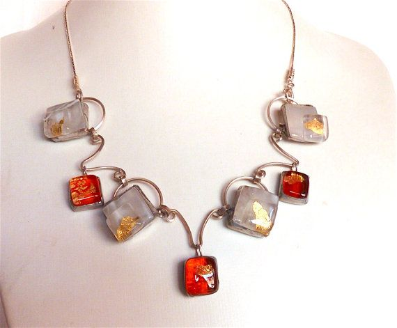 """#etsyfinds #jewelry #glass #silver #artisan #unique #giftidea CODE """"FRIENDS"""" 25% OFF!!! Artisan glass necklacefused glassorange glassgold by Dartisanglass"""