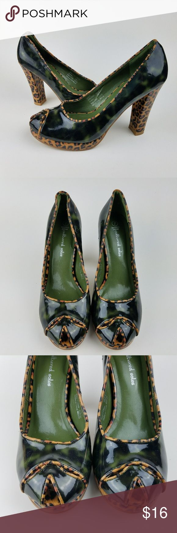 """Cultured Soles Green Animal Print Pumps Women's Cultured Soles Pumps Dark Green w/ Leopard Print Women's size 7 4"""" Heel Shoes have what appears to be paint on back of right shoe. Overall in great condition otherwise.  SE8-8 Cultured Soles Shoes Heels"""