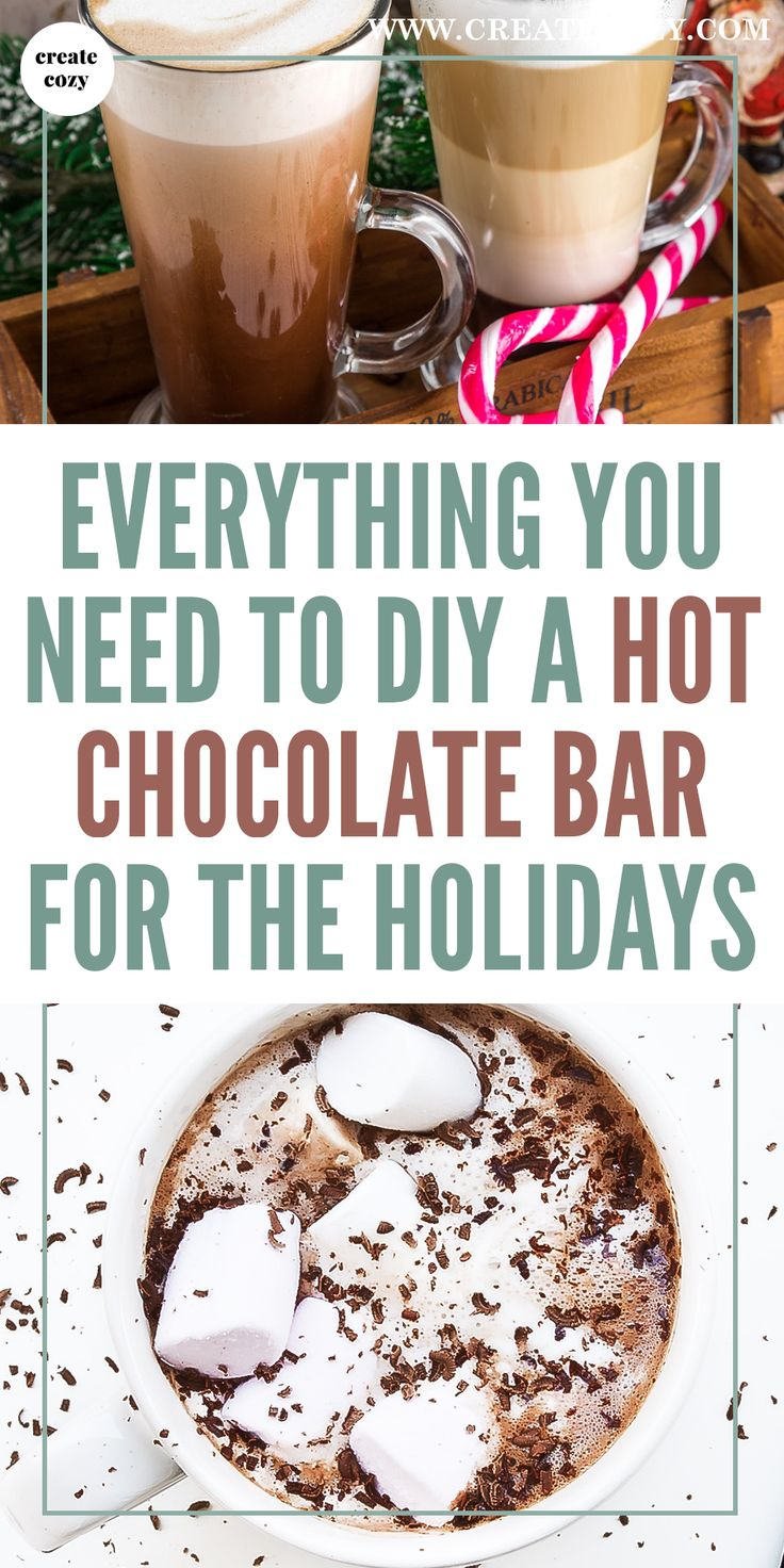Make a hot chocolate station for the holidays so your guests can make some amazing holiday drinks, featuring the best cocoa recipes, hot chocolate bar signs and decoration, marshmallows and hot chocolate toppings, chocolate spoon recipes and ideas, crockpot hot chocolate, cocoa powder recipes, Christmas party favors and lots of hot chocolate holiday ideas and recipes