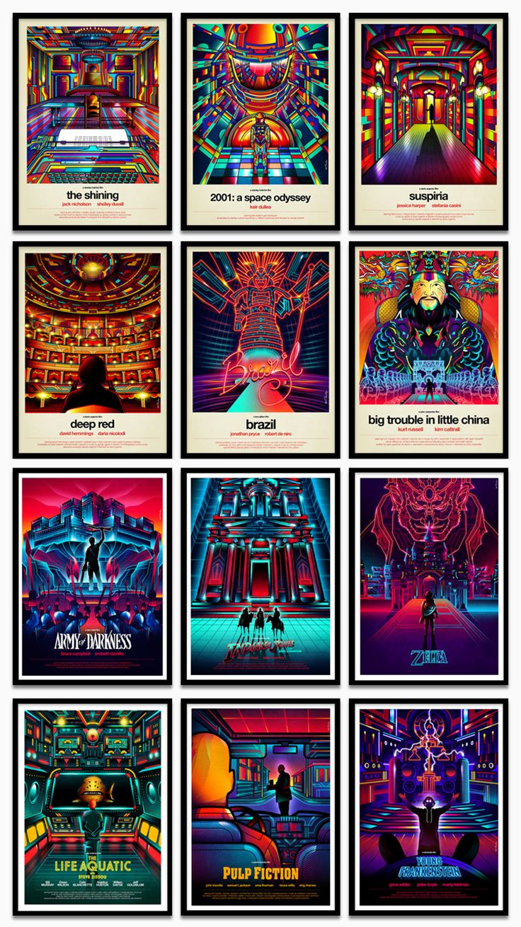 neon film posters present cult classics from the protagonists' perspective