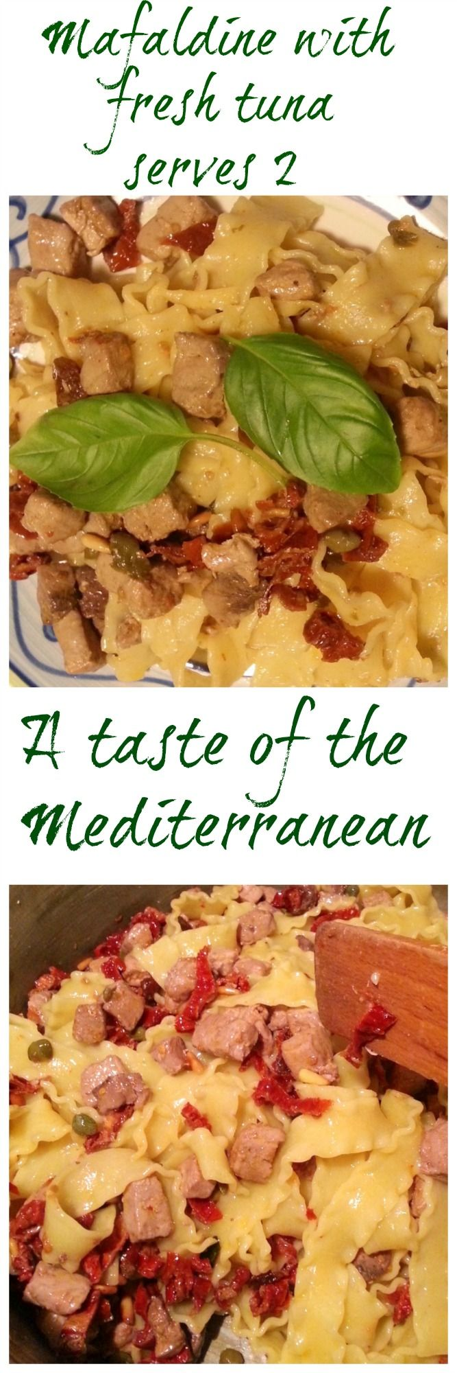 This recipe for mafaldine pasta (also called mafalda or reginette) with fresh tuna requires only a few ingredients but the taste is summer in the Mediterranean! Check out the recipe on the blog!