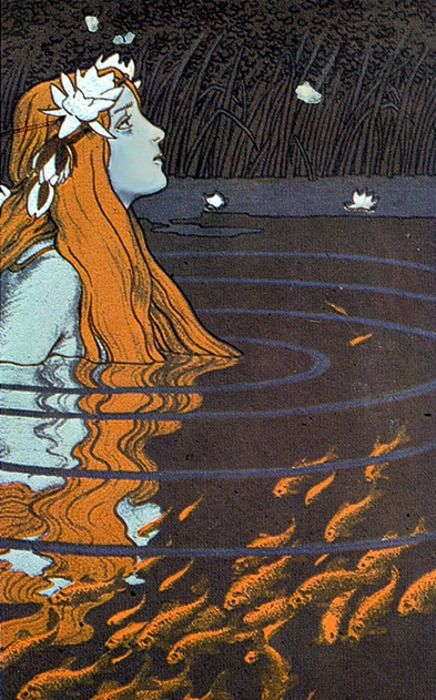 Vintage mermaid with goldfish. - Reminds me of that Plath poem with all the flowers on the water or the stars in the sky or whatever melodramatic stuff she was talking about.