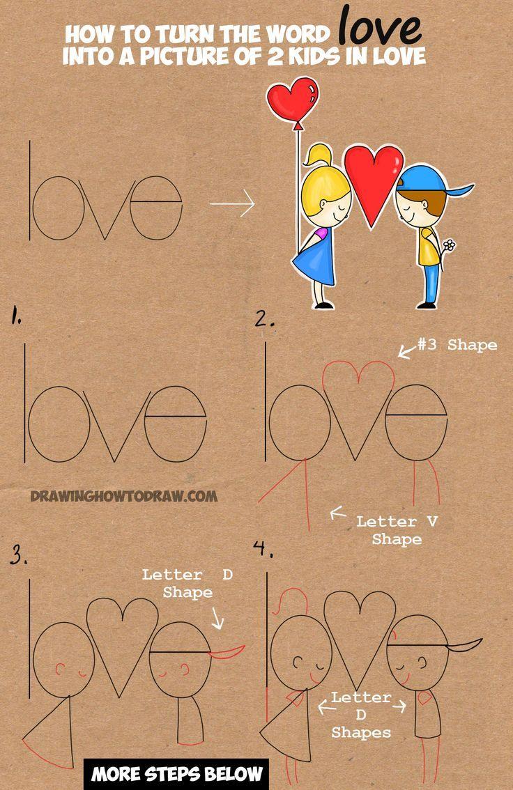 Lernen Sie, wie man in diesem einfachen Wortauto Zeichentrickkinder aus dem Wort Liebe zeichnet