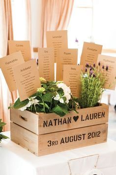Unusual floral-inspired table plan idea / http://www.deerpearlflowers.com/country-wooden-crates-wedding-ideas/3/