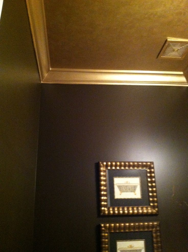 Painted My Guest Bathroom Ceiling And Crown Molding Metallic Gold My Projects Pinterest