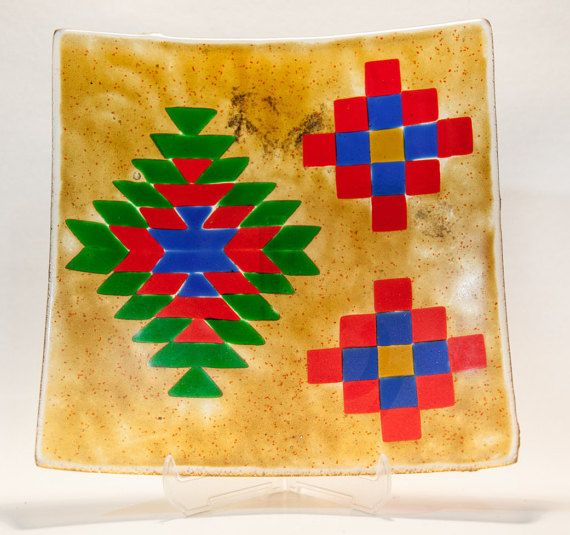 Unique fused and painted glass plate with Native by AtelierThalia