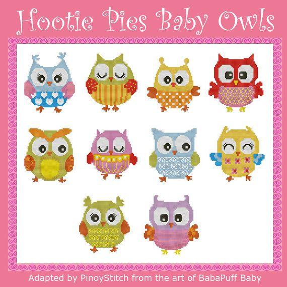 Hootie Pies Baby Owls Minis Cross Stitch PDF Chart by PinoyStitch