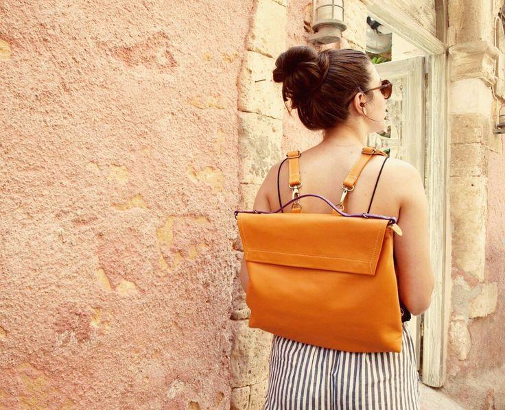 Pottier bag, orange color Shoulder bag, backpack, lether