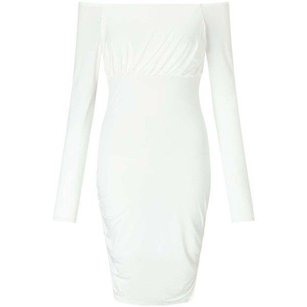 Miss Selfridge White Asymmetric Hem Bardot Dress ($8) ❤ liked on Polyvore featuring dresses, white, miss selfridge, asymmetrical hem dress, white day dress, white dress and white colour dress
