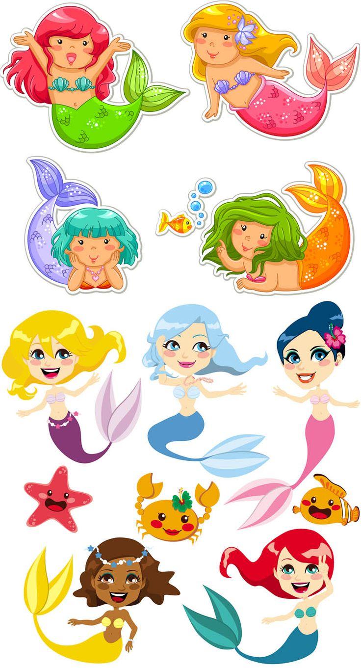 Cartoon mermaid vector | Mermaid vector, Mermaid drawings ...