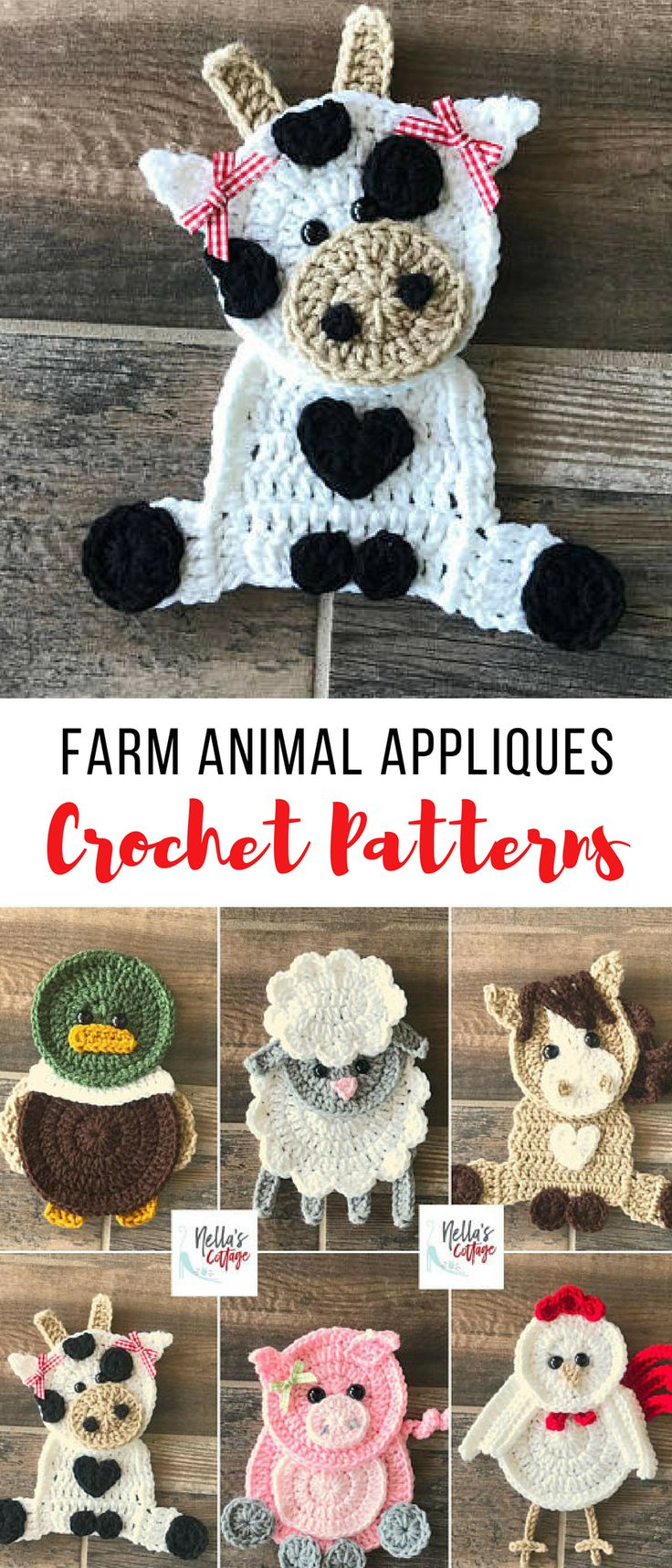so many things you could put these farm animal crochet appliques on --blankets, hats, scarves...adorable crochet patterns #crochetanimals #crochetfarmanimals #crochetappliquepatterns #crochetpatterns #crochet #affiliate