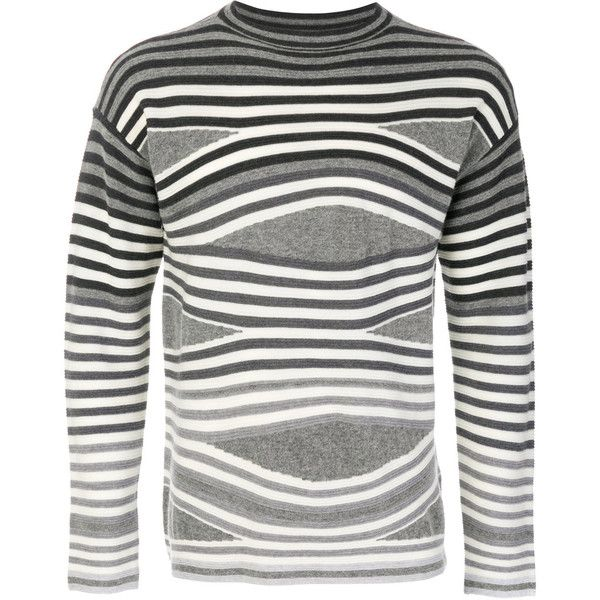 Emporio Armani striped jumper (1.705 BRL) ❤ liked on Polyvore featuring men's fashion, men's clothing, men's sweaters, grey, mens grey sweater, mens gray sweater and mens striped sweater