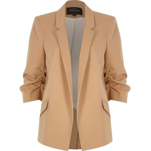 River Island Nude ruched sleeve blazer (475 MYR) ❤ liked on Polyvore featuring outerwear, jackets, blazers, coats / jackets, nude, women, ruched sleeve blazer, three quarter sleeve blazer, beige jacket and open front jacket