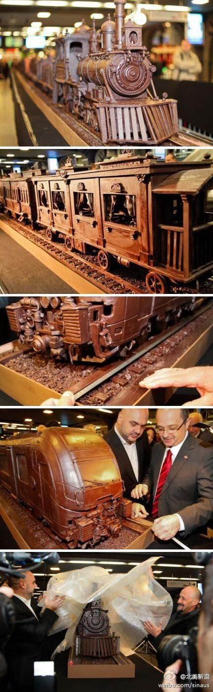 34m long chocolate train at Brussel's Chocolate Week. It's the world's longest chocolate structure.