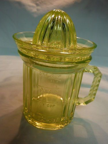 Vintage Depression Yellow Vaseline Glass Mini One Cup Juicer RARE Hard to Find | eBay