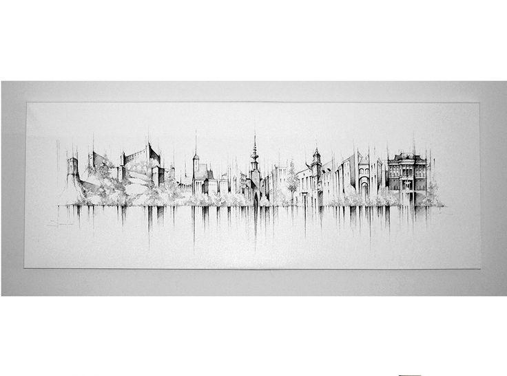 Bratislava kresba na plátno