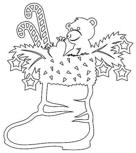 Мишка с конфетами в сапоге - Трафарет на подвеску, витраж - украшение к РОЖДЕСТВУ, к НОВОМУ ГОДУ