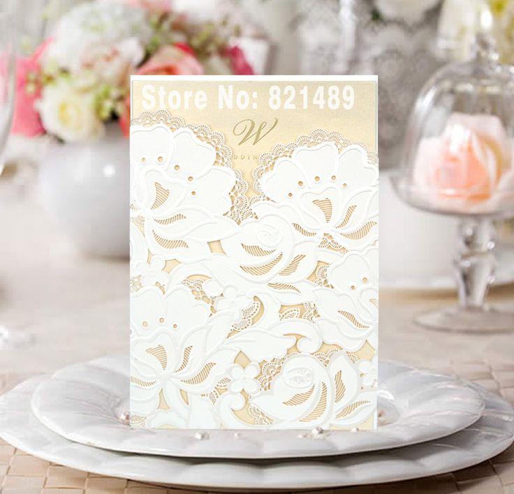 Белый и Светло-Золотые Свадебные Приглашения; белый Лазерная Резка Свадебные Приглашения Карты; чистый Белый Пригласительный Билет-Набор из 50
