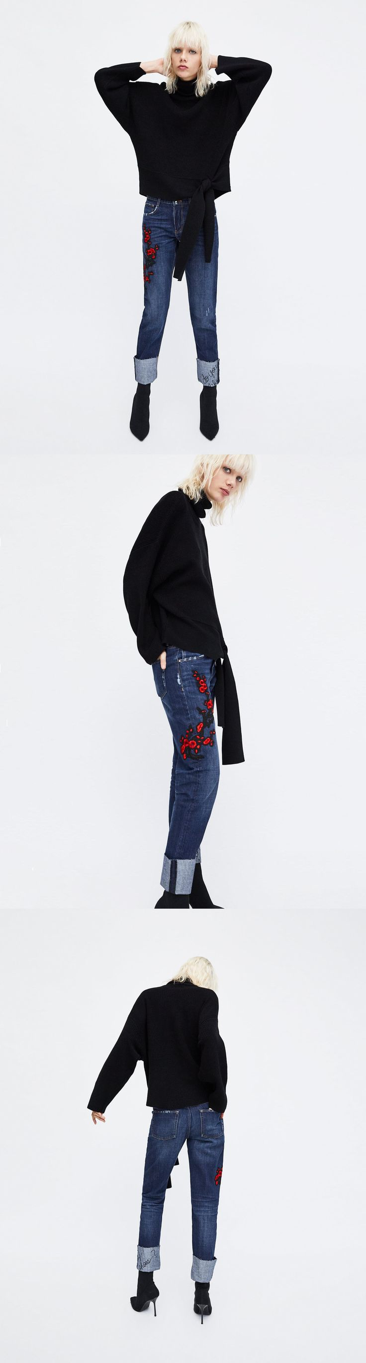 Embroidered Cigarette Jeans // clojure.lang.LazySeq@3041e38b // Zara // Cigarette jeans with contrasting floral embroidery on the side. Featuring rolled-up hems, an embroidered slogan, five pockets and distressed-effect details. Fastens in the front with a round button and zip. HEIGHT OF MODEL: 177 cm. / 5′ 9″
