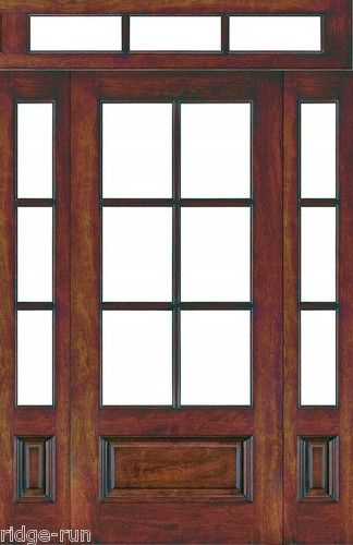 6 lite craftsman mahogany wood entry door w sidelights 3 for Front door with 6 windows