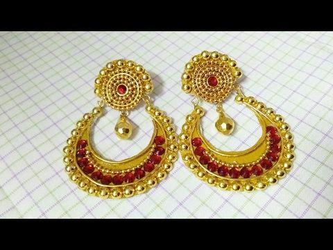 Quilling Chandbali earrings how to make chandbali earrings  - YouTube