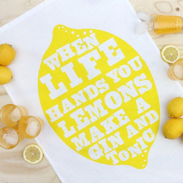 Lemons tea towel - Designer tea towels from ToDryFor.com