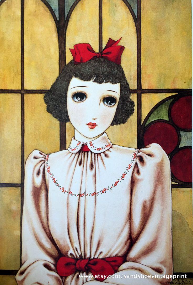 1960s JUNICHI NAKAHARA Big Eyed Girl Doublesided Print Perfect for Framing by sandshoevintageprint on Etsy