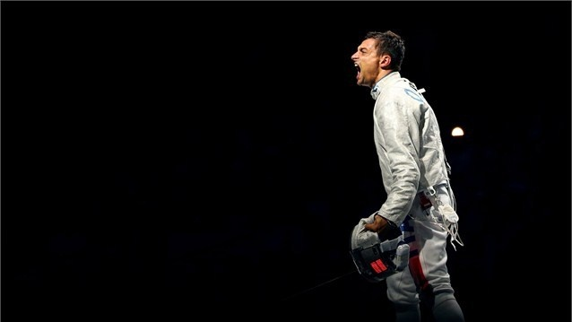 Diego Occhiuzzi of Italy shows the emotion after defeating Russia for the bronze medal in the men'sTeam Sabre Fencing on Day 7 of the London 2012 Olympic Games at ExCeL