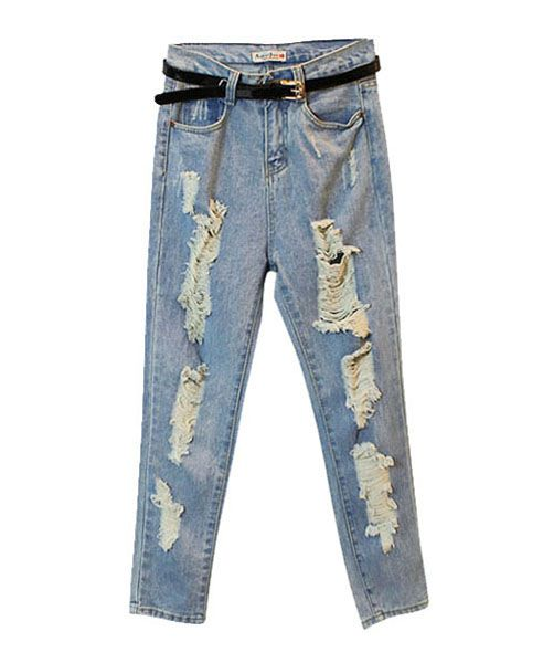 Faded Light Blue Loose Washed Jeans with Ripped Detail