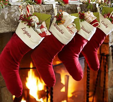 Velvet Stocking - Red/Ivory #potterybarn  We finally have the family complete so now time for stockings.  Free mongram thru Nov 12.