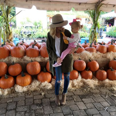 Me and my girl this past weekend at the pumpkin patch 🎃🎃 I can't believe how big she is! She has the longest legs. I just love her💗 http://liketk.it/2pgDd @liketoknow.it #liketkit