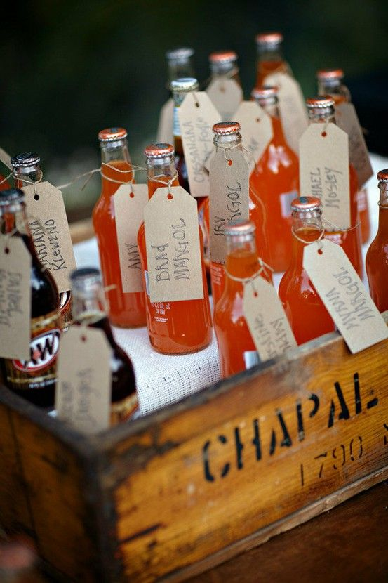 This is such an awesome idea. to use your pre-drinks as part as the seating cards!