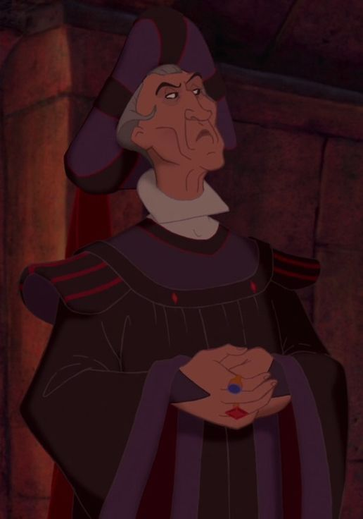 Judge Claude Frollo is the main antagonist of Disney's 1996 animated feature film, The Hunchback of Notre Dame. He is a ruthless judge who, after a series of sensitive circumstances, becomes the begrudged caretaker of the deformed Quasimodo. With a majority of the film's heavy thematic elements being directly tied to Frollo's story arc, the character is widely considered to be amongst the darkest Disney villains of all time.