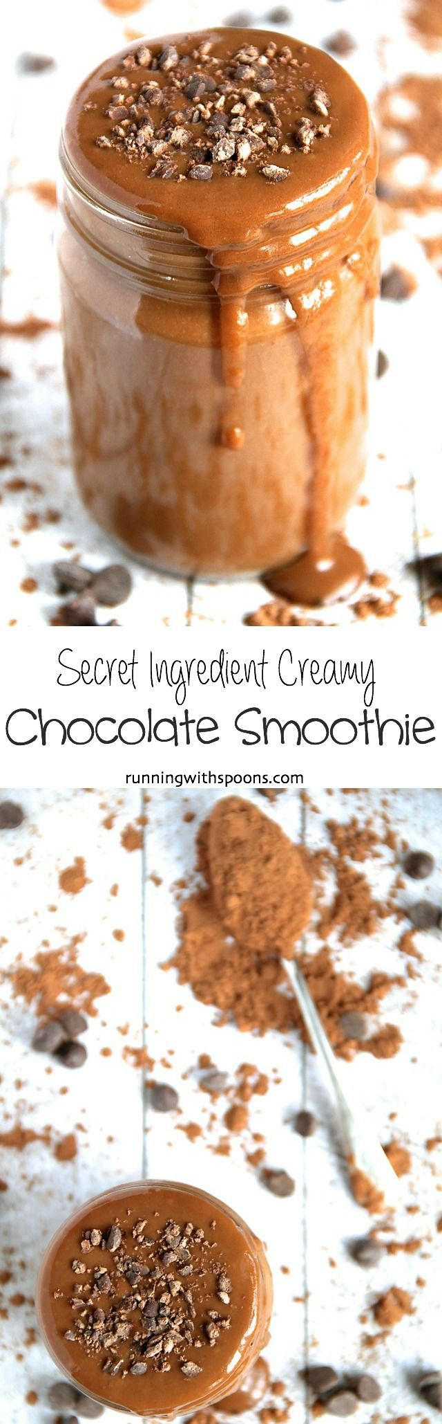Secret Ingredient Chocolate Smoothie -- Smooth, creamy, and packing a serious nutritious punch thanks to the help of a delicious secret ingredient! || runningwithspoons.com