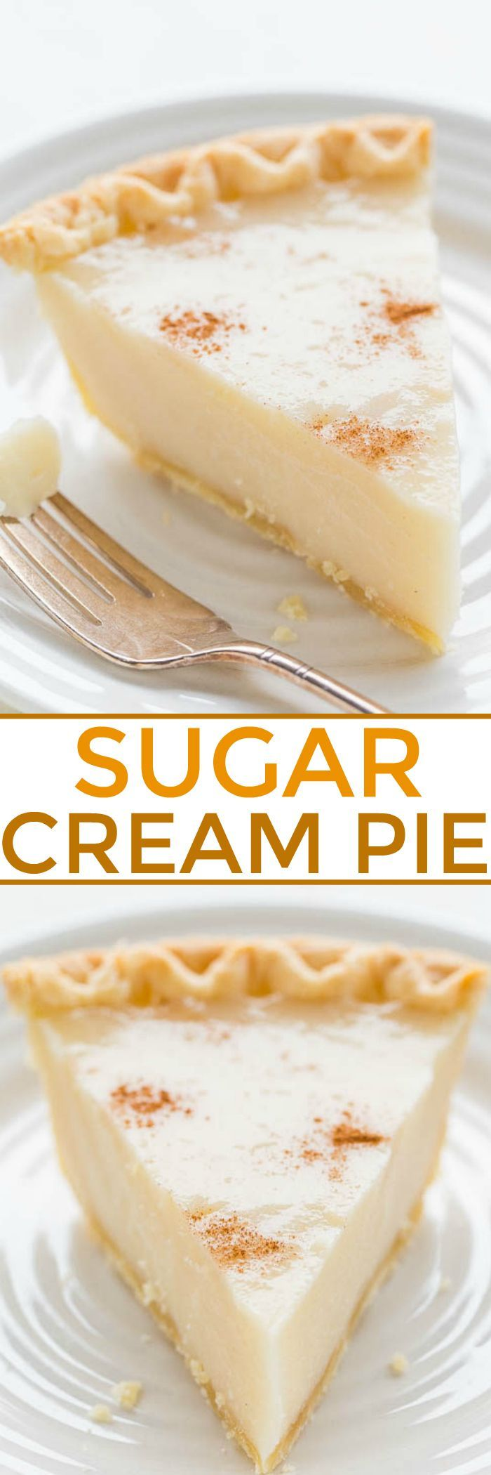 Sugar Cream Pie - An EASY, no mixer cream pie that's guaranteed to set up!! Sweet, rich, creamy, and tastes a lot like the infamous CRACK PIE crossed with CREME BRULEE but it's 1000x easier! Use frozen pie crust to save even more time!!