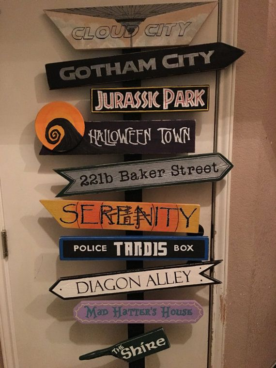 Fictional locations Sign, directional, favorite places, fantasy, book lover, wedding decor – No post hanging