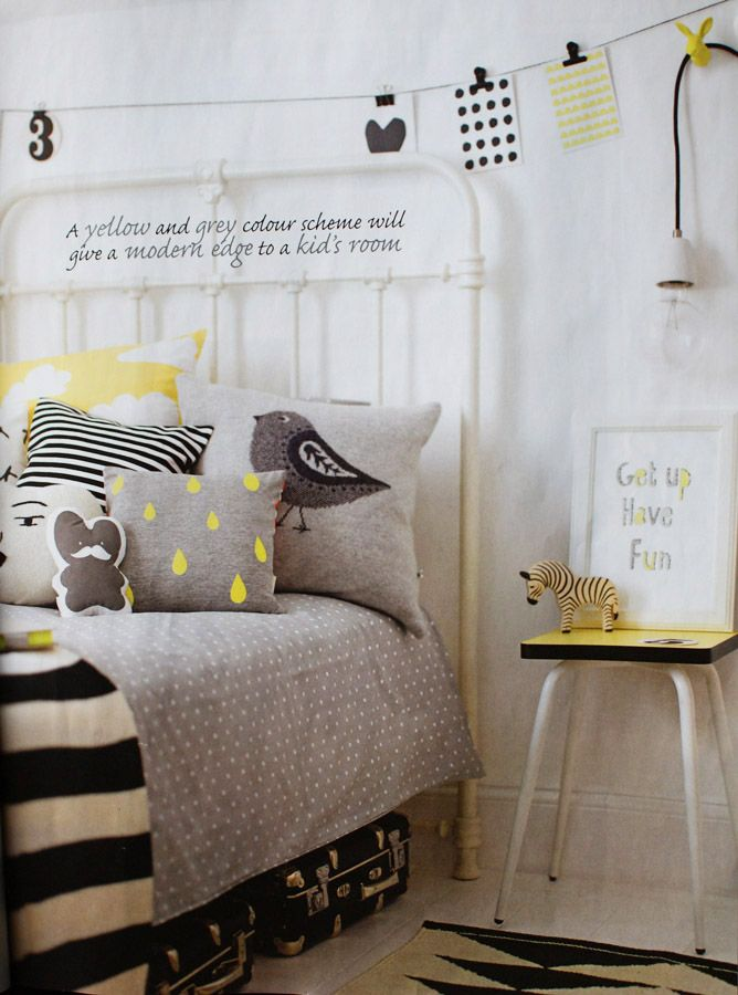 The Modern Baby - Grey & Yellow - Gender Neutral kids bedroom. Love the black and white with grey bedding and yellow accessories. Ferm Living, Farg Form and Seventy Tree products used in this shoot by Charlotte Love for Good Homes magazine.