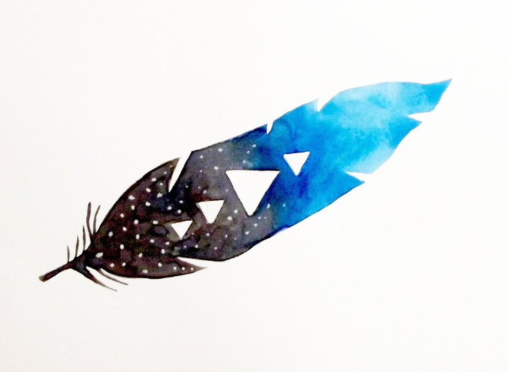 Night+Sky+Feather++Original+Watercolor+by+GeometricInk+on+Etsy,+$25.00
