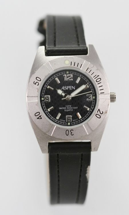 Aspen Watch Womens Black Leather Stainless Silver Battery Easy Read 30m Quartz