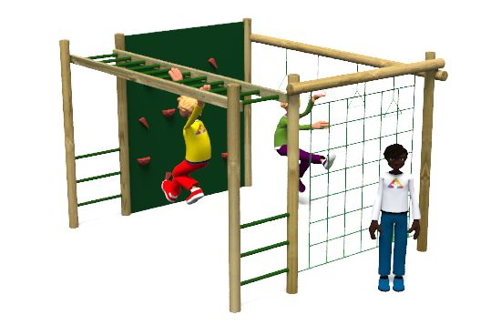 Carleton 6 Climbing Frame Playground Equipment includes a scramble net, ladder, plastic climbing wall and trapeze rings http://www.actionplayandleisure.co.uk/carleton-6/