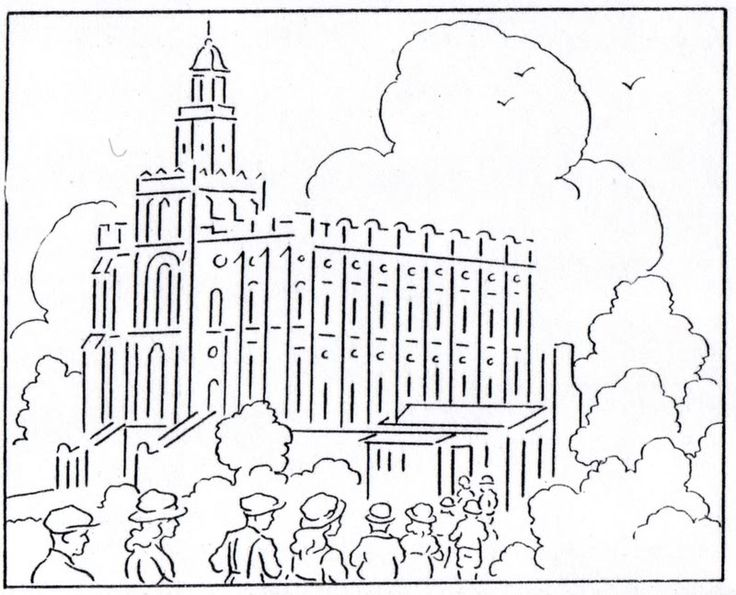 St George Temple Coloring Page From Mormon History