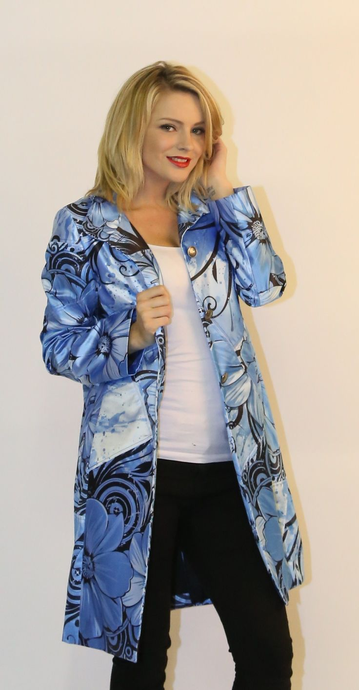 Made to order ladies coat from digitally printed fabric to our customers requirements.
