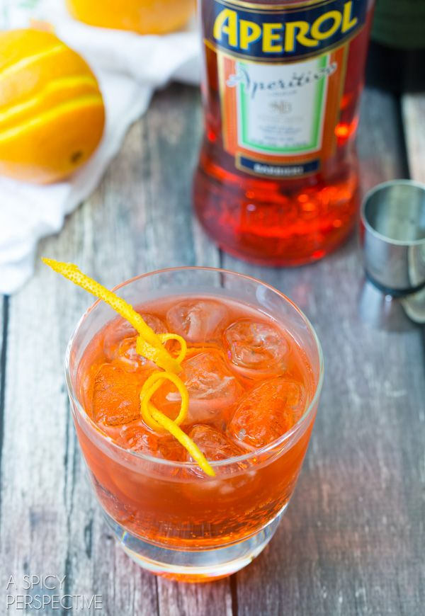 Aperol Spritz - So refreshing...love it.  Ingredients: 2 oz. Aperol and 3 oz of Prosecco Champagne. Splash of Club Soda