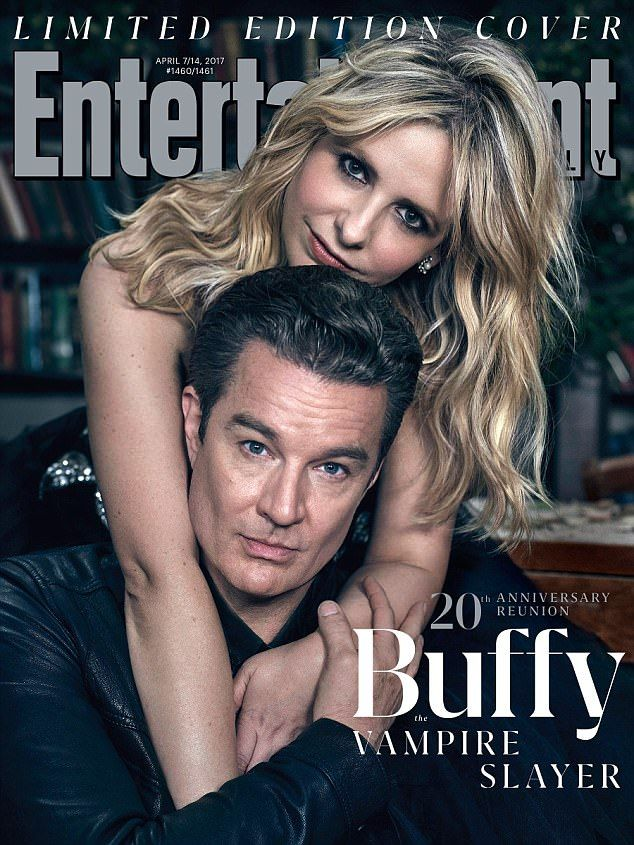 Loved up: The 47-year-old hunk played Angel, Buffy's beau in the mock horror series...
