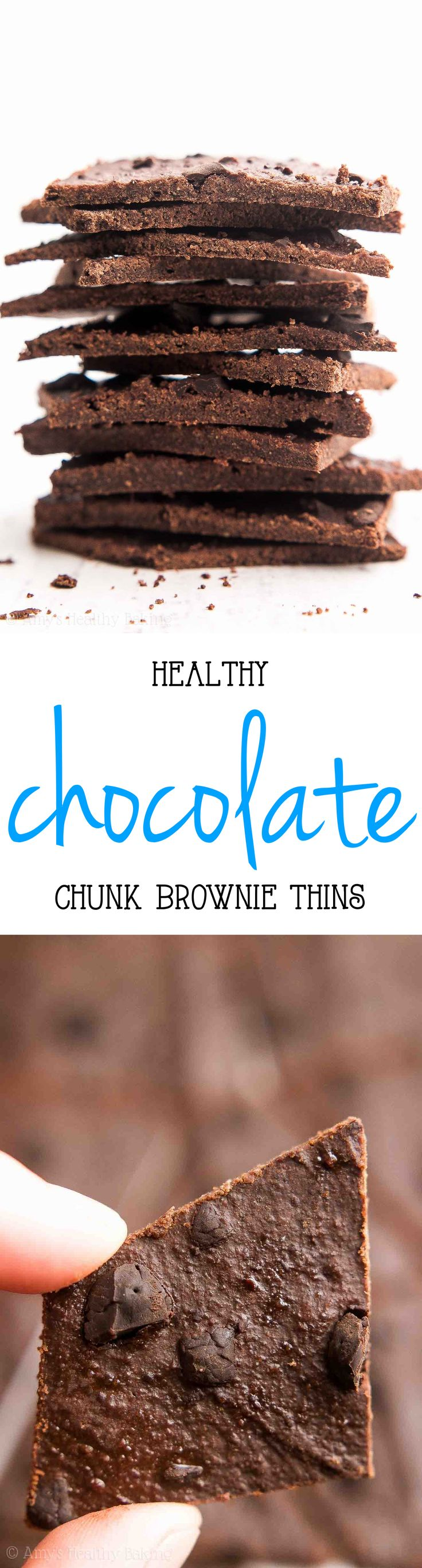 {HEALTHY!} Chocolate Chunk Brownie Thins = AMAZING! Rich, easy & just 66 calories! My favorite thing for sweet tooth cravings!