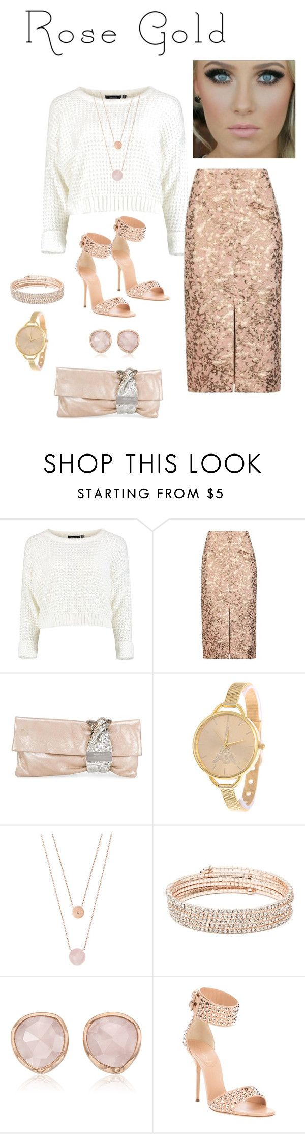 """""""Jóia do ouro de Rosa"""" by daianetavares310 ❤ liked on Polyvore featuring Topshop, Jimmy Choo, Michael Kors, Anne Klein, Monica Vinader, Casadei and rosegold"""