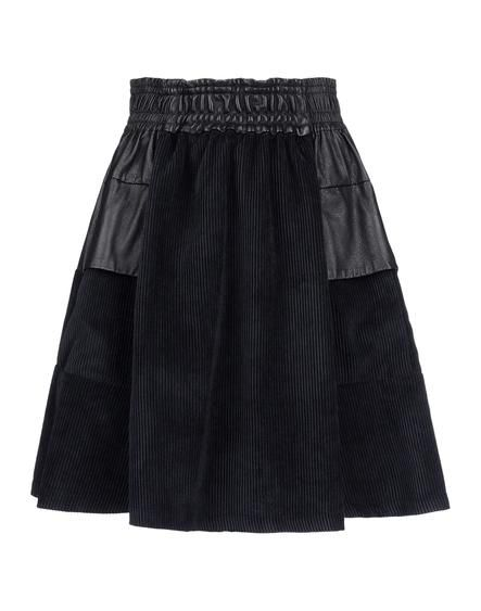 Black A-line skirt in leather and corduroy by DAMIR DOMA.