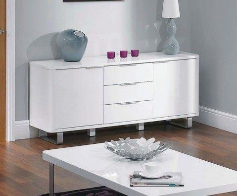 Mya White High Gloss Sideboard - UK delivery
